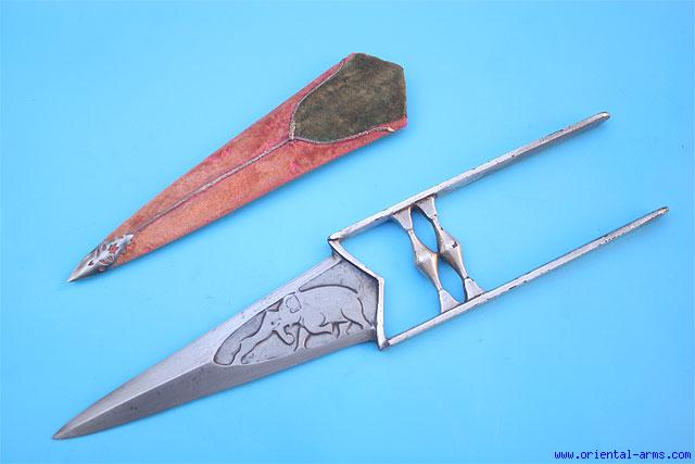 Oriental-Arms: Fine Wootz Kattar Push Dagger, Chiseled Blade